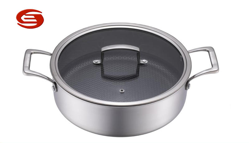 Tri-ply Stainless steel Honeycomb Non-stick Low Casserole with glass lid