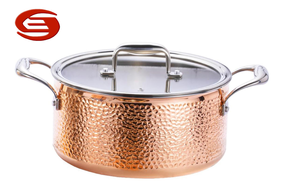 Tri-ply Copper Hammered CAsserole with Glass lid
