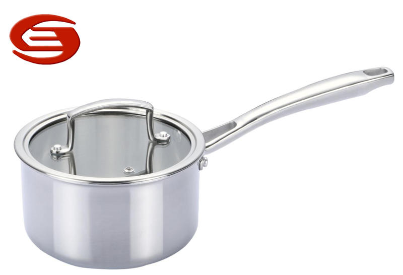 Tri-ply Stainless steel Saucepan with glass lid